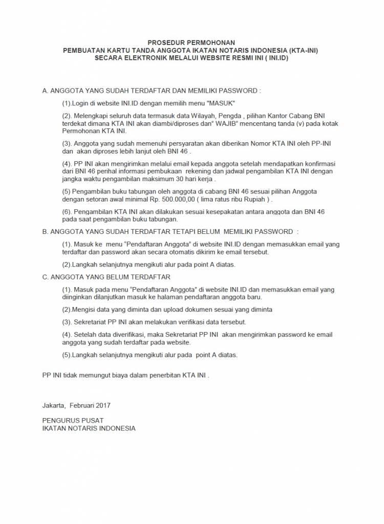 PROSEDUR PERMOHONAN PEMBUATAN KARTU TANDA ANGGOTA IKATAN NOTARIS INDONESIA (KTA-INI)  SECARA ELEKTRONIK